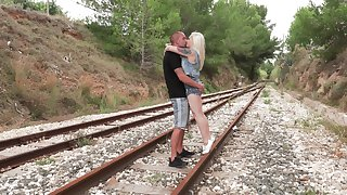 Lola Taylor fucks with her friend without mercy by the railway
