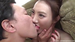 MILF Japanese brunette Kashima Reina pussy licked in fishnets