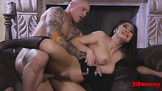 Hot Brunette Demoiselle Kendra Spade rides broad in the beam dick on Davenport - cumshot
