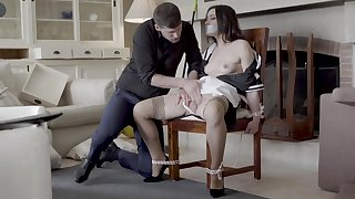 Hot maid Valentina Bianco tied to a chair and fucked good